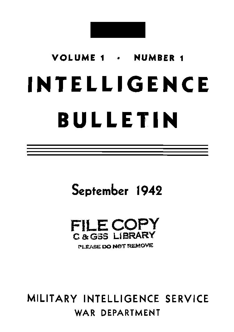 United States. War Department - 1942-09 Intelligence Bulletin Vol 01 No 01