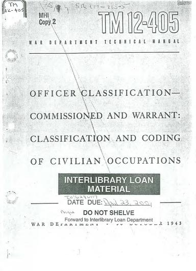 United States. War Department - TM 12-405 Officer Classification Commissioned and Warrant: Classification and Coding of Civilian Occupations