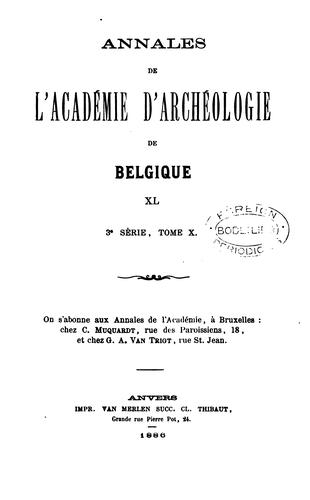 Bulletin et annales de l'Académie d'archéologie de Belgique