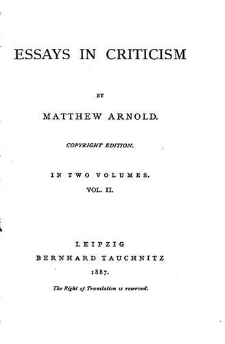 Download Essays in Criticism