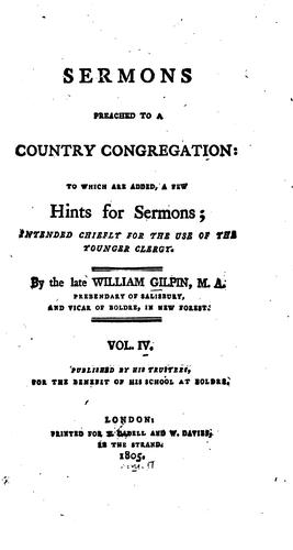 Sermons Preached to a Country Congregation: To which is Added, A Few Hints for Sermons …