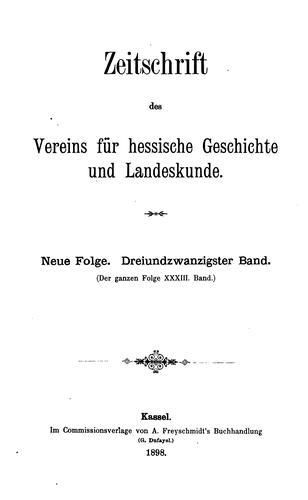 Zeitschrift des Vereins für hessische Geschichte und Landeskunde