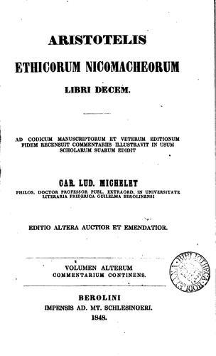 Aristotelis Ethicorum Nicomacheorum libri decem..