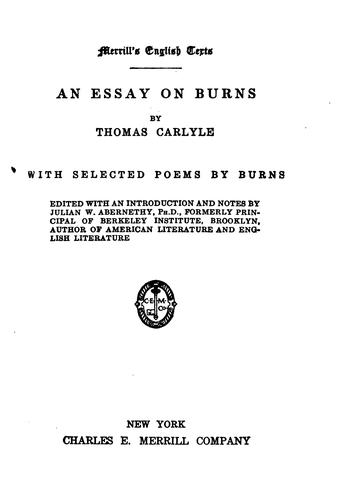 Download An Essay on Burns