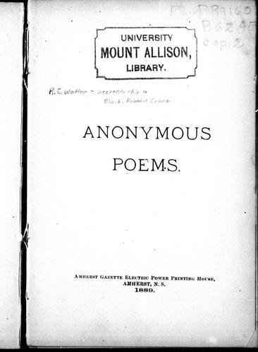 Anonymous poems