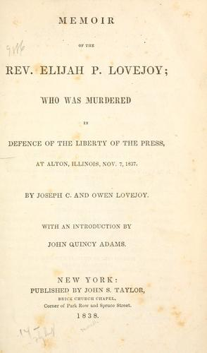 Memoir of the Rev. Elijah P. Lovejoy