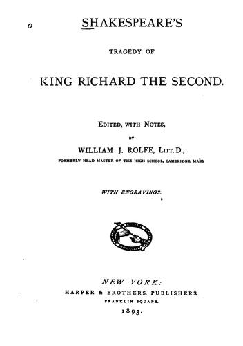 Download Shakespeare's Tragedy of King Richard the Second