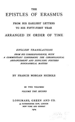 The Epistles of Erasmus (epistles:212-533)