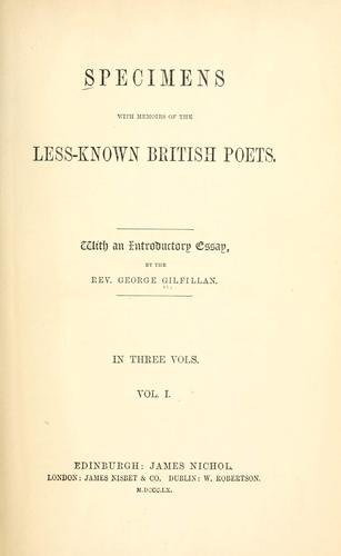 Download Specimens with memoirs of the less-known British poets.