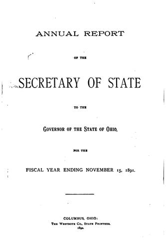 Annual Report of the Secretary of State to the Governor and General Assembly …