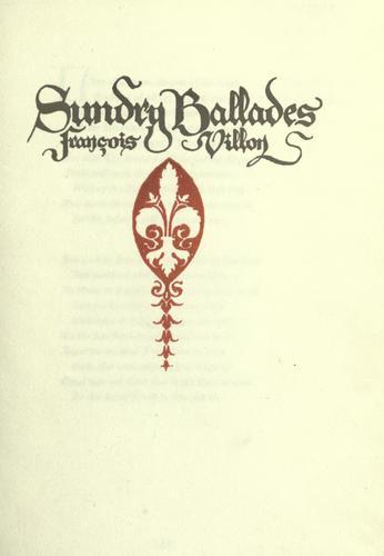 Download Sundry ballades
