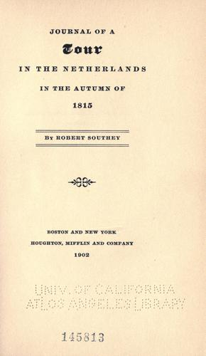 Download Journal of a tour in the Netherlands in the autumn of 1815