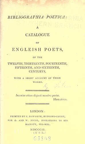 Download Bibliographia poetica