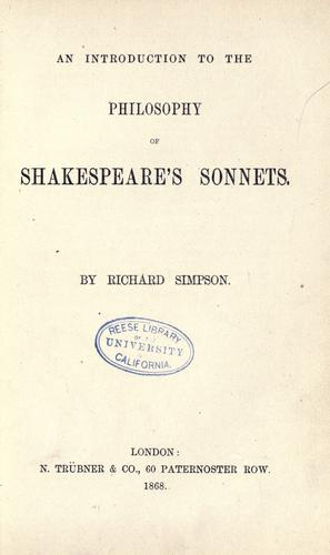 An introduction to the philosophy of Shakespeare's sonnets.