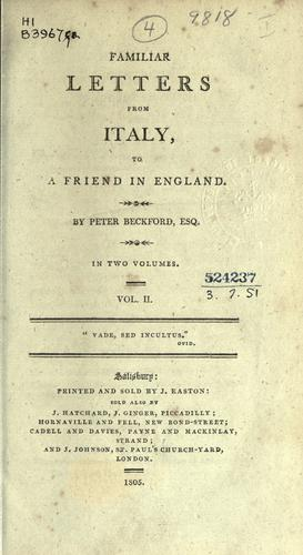 Download Familiar letters from Italy, to a friend in England.