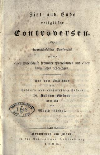 Ziel und Ende religi©·oser Controversen.