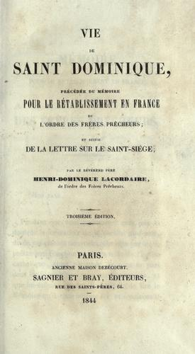 Download Vie de saint Dominique