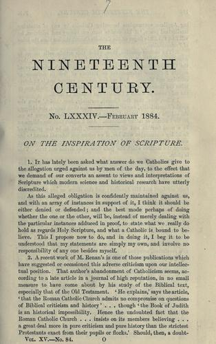 On the inspiration of Scripture by John Henry Newman