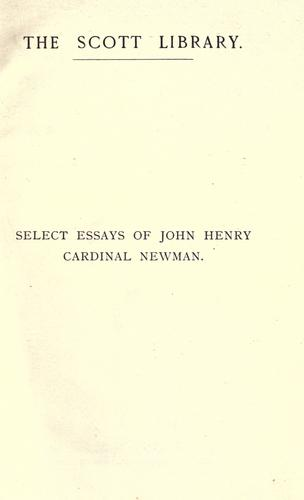 Download Select essays of John Henry Cardinal Newman