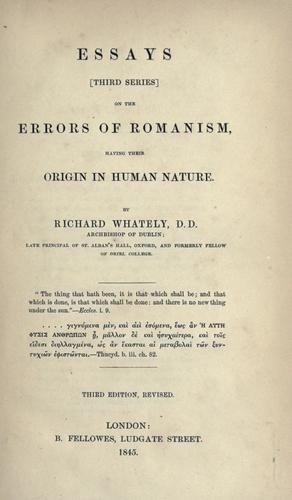 Download Essays (third series) on the errors of Romanism, having their origin in human nature