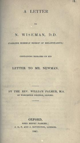 Download A letter to N. Wiseman, D.D. (calling himself Bishop of Melipotamus)