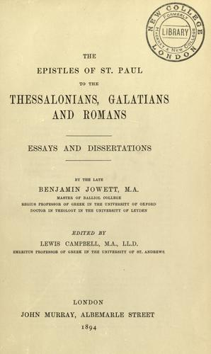 Download The Epistles of St. Paul to the Thessalonians, Galatians and Romans
