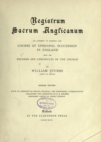 Registrum sacrum Anglicanum.