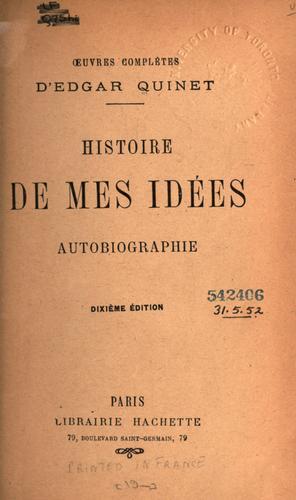Histoire de mes idées