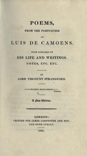 Poems / from the Portuguese of Luis de Camoens
