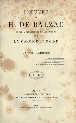 L' oeuvre de H. de Balzac