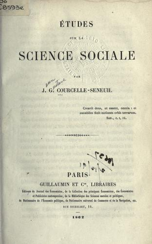 Download Études sur la science sociale.