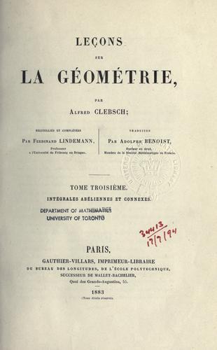 Leçons sur la géométrie