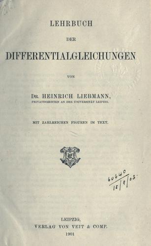 Download Lehrbuch der Differentialgleichungen.