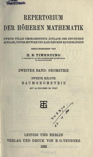 Download Repertorium der höheren Mathematik.