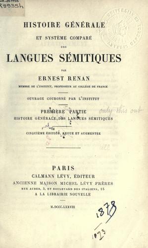 Download Histoire générale et système comparé des langues Sémitiques.