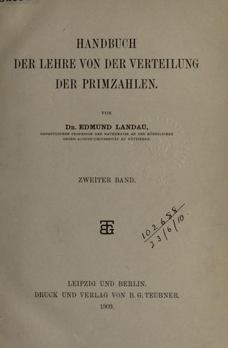 Download Handbuch der Lehre von der Verteilung der Primzahlen.