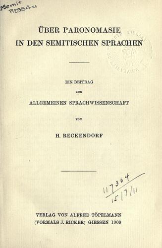 Über Paronomasie in den semitischen Sprachen.