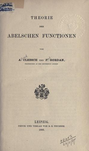 Download Theorie der Abelschen Functionen