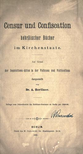 Censur und Confiscation hebräischer Bücher im Kirchenstaate.