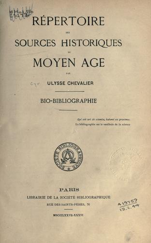Download Répertoire des sources historiques du moyen âge