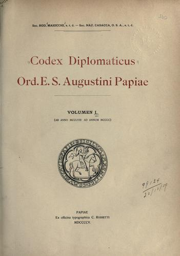 Download Codex diplomaticus ord. E.S. Augustini Papiae.