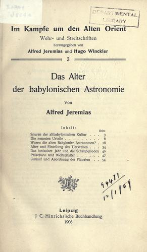 Download Das Alter der babylonischen Astronomie.
