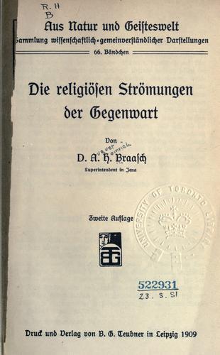Die religiösen Strömungen der Gegenwart.