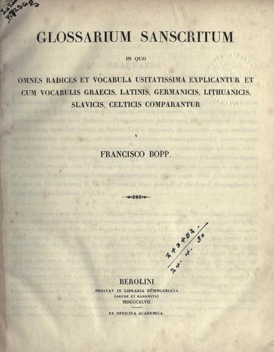 Download Glossarium Sanscritum