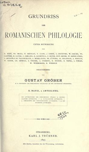 Download Grundiss der romanischen Philologie
