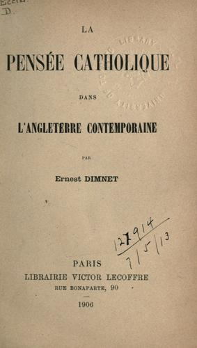 Download La pensée catholique dans l'angleterre contemporaine.