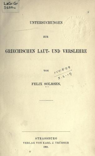 Download Untersuchungen zur griechischen Laut- und Verslehre.