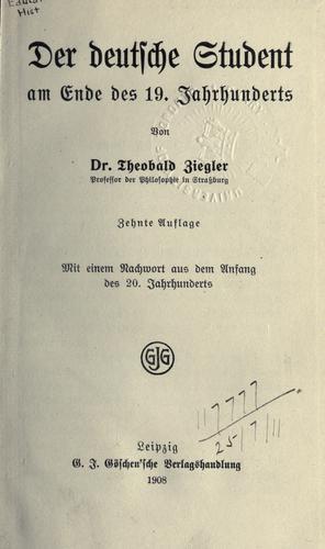 Download Der deutsche Student am Ende des 19. Jahrhunderts.