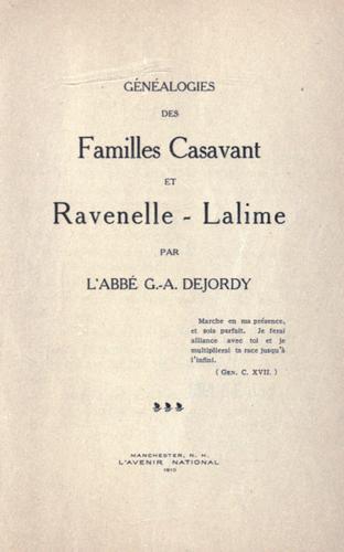 Généalogies des familles Casavant et Ravenelle-Lalime