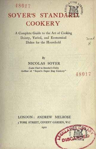 Soyer's standard cookery
